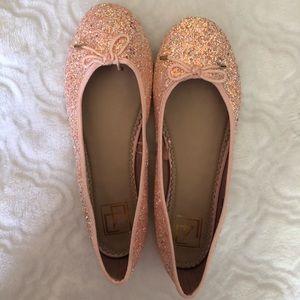 Shoes - Pink Glitter Ballet Flats